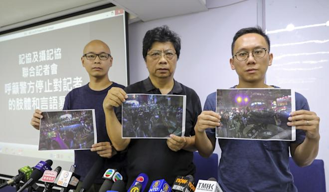 Left to right: HKPPA chairman Chan Yik-chiu, HKJA chairman Chris Yeung and executive committee member Lam Yin-pong at the joint press conference in Tsim Sha Tsui on Thursday. Photo: May Tse