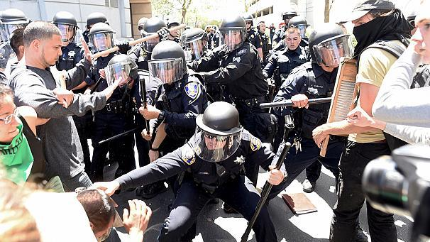 "Hundreds of demonstrators attempted to disrupt a Republican convention in California on Friday where presidential candidate Donald Trump was due to appear.   Protesters surrounded the entrance to the hotel venue in Burlingame forcing the billionaire businessman to enter through a rear entrance from a nearby freeway. True to form, Trump made light of the incident in his speech:   ""That was not the easiest entrance I've ever made. My wife called. She said there are helicopters following you and we did, and then we went under a fence and through a fence and, oh boy, felt like I was crossing the border actually.""   After the event Trump again left by the back door. It was the second day of protests in a row against the Republican front-runner in the race for the White House. Earlier this week he referred to himself as the 'presumptive' nominee.    This tie with Crooked Hillary Clinton will soon be hugely in our favor- when I secure the GOP nomination. pic.twitter.com/kDTWHJzRSf— Donald J. Trump (@realDonaldTrump) April 30, 2016   But his seemingly unstoppable progress has angered many people and sparked protests across the country wherever he appears.    His campaign abandoned a rally in Chicago last month after clashes between supporters and protesters."