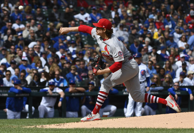 St. Louis Cardinals starting pitcher Miles Mikolas (39) delivers during the first inning of a baseball game against the Chicago Cubs on Saturday, Sept. 29, 2018, in Chicago. (AP Photo/Matt Marton)
