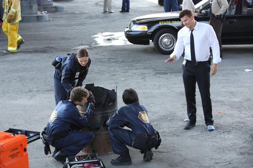 "Brennan (Emily Deschanel), Hodgins (TJ Thyne), Cam (Tamara Taylor) and Booth (David Boreanaz) investigate remains at a crime scene in ""The Partners in the Divorce"" episode of ""Bones."""