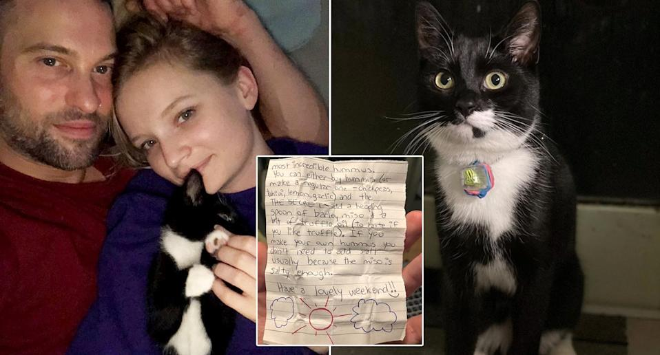 Olga Shipunova, 29, and her partner Zack King, 37, who live in a ground floor flat in Hackney, London, first found a note attached to their cat Billy's collar in September.