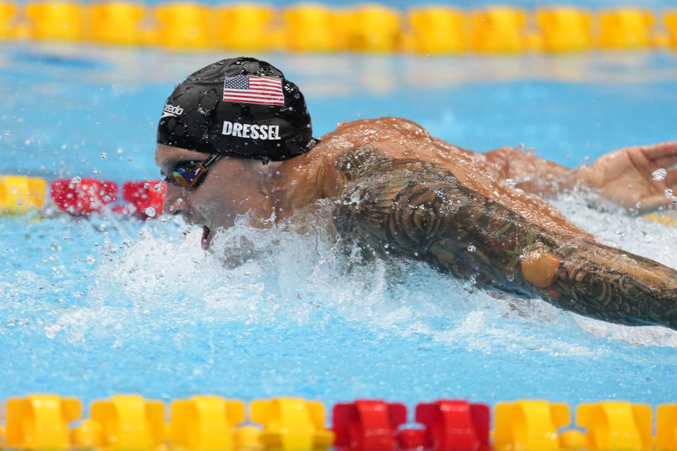 TOKYO, JAPAN - JULY 31:   Caeleb Dressel of Team United States competes in the Men's 100m Butterfly Final at Tokyo Aquatics Centre on July 31, 2021 in Tokyo, Japan. (Photo by Fred Lee/Getty Images)