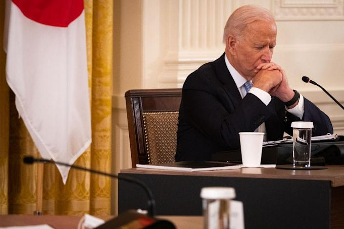 U.S. President Joe Biden pauses during a meeting in the East Room of the White House in Washington, D.C., U.S., on Friday, Sept. 24, 2021.