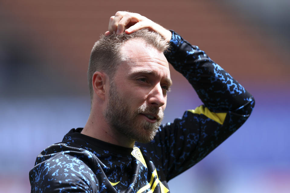 Christian Eriksen visited his club team, Inter Milan, for the first time since his cardiac arrest at Euro 2020. (Photo by Sportinfoto/DeFodi Images via Getty Images)