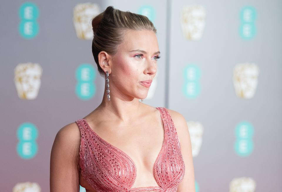 Scarlett Johansson attends the EE British Academy Film Awards on February 02, 2020. (Photo by Samir Hussein/WireImage)