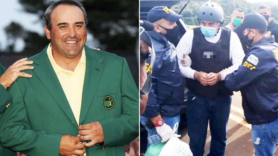 Angel Cabrera, pictured here being extradited from Brazil to Argentina.
