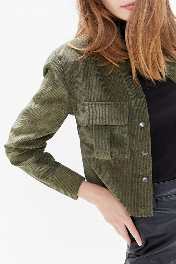 """<p>We love the olive shade of this <a href=""""https://www.popsugar.com/buy/Pleasant-Boxy-Corduroy-Button-Down-Shirt-481233?p_name=Pleasant%20Boxy%20Corduroy%20Button-Down%20Shirt&retailer=urbanoutfitters.com&pid=481233&price=70&evar1=fab%3Auk&evar9=46516844&evar98=https%3A%2F%2Fwww.popsugar.com%2Ffashion%2Fphoto-gallery%2F46516844%2Fimage%2F46517255%2FPleasant-Boxy-Corduroy-Button-Down-Shirt&list1=shopping%2Cfall%20fashion%2Cfall%2Curban%20oufitters&prop13=api&pdata=1"""" rel=""""nofollow"""" data-shoppable-link=""""1"""" target=""""_blank"""" class=""""ga-track"""" data-ga-category=""""Related"""" data-ga-label=""""https://www.urbanoutfitters.com/shop/pleasant-boxy-corduroy-button-down-shirt?category=womens-new-arrivals&amp;color=031&amp;type=REGULAR"""" data-ga-action=""""In-Line Links"""">Pleasant Boxy Corduroy Button-Down Shirt</a> ($70).</p>"""