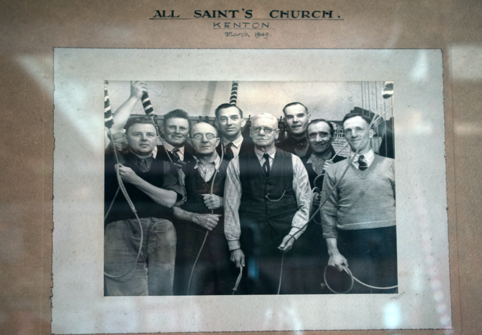 A picture taken in 1949 showing the bell ringing team with Mike Adams' grandfather Frederick Gardener (centre), who was also tower captain. (SWNS)
