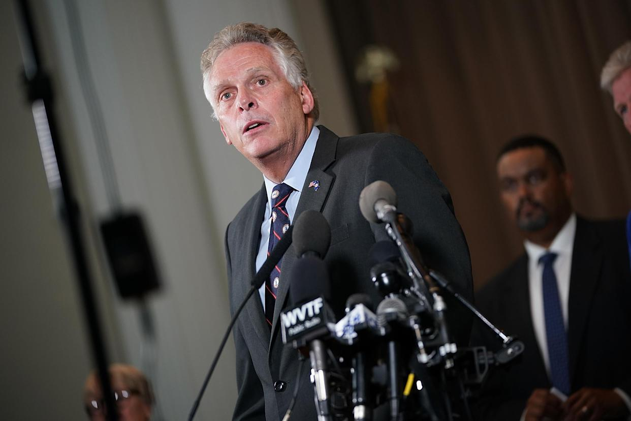 "Virginia Gov. Terry McAuliffe speaks during a press conference Aug. 12, 2017, in Charlottesville, Va. While speaking about the violence during a white supremacist rally, McAuliffe said, ""Please, go home and never come back. Take your hatred and take your bigotry."" (Photo: Win McNamee/Getty Images)"