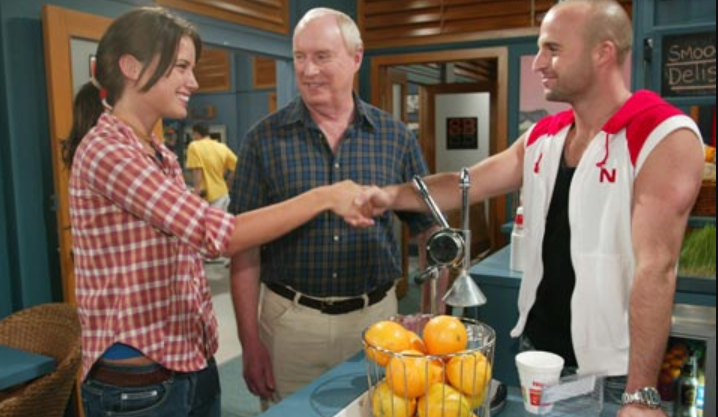 Home and Away actor Ben Unwin pictured here with co-stars Jodi Anasta (nee Gordon) and Ray Meagher.