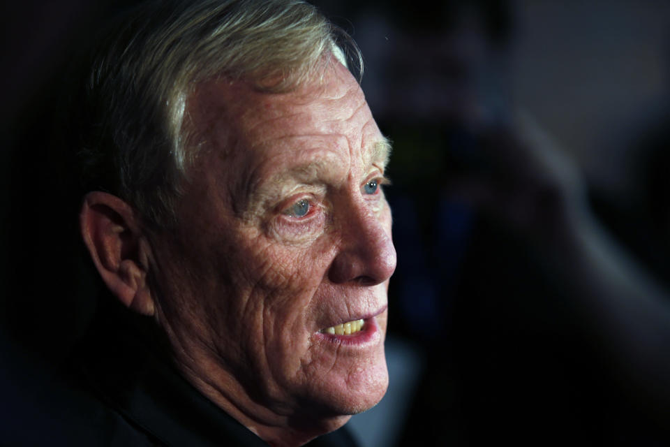 FILE - In this Aug. 7, 2015, file photo, Pro Football Hall of Fame inductee Bill Polian speaks to reporters in Canton, Ohio. With Americans hunkering down, doctors overwhelmed by the mounting cases of COVID-19, and a flurry of canceled pro days, Polian believes it's time to bring back an old approach for this year's draft. (AP Photo/Gene J. Puskar, File)