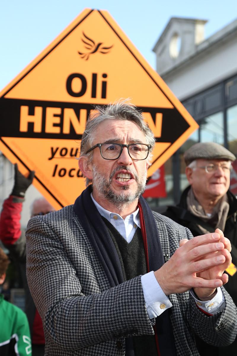 Steve Coogan with Liberal Democrat candidate Oliver Henman (Photo: PA Wire/PA Images)