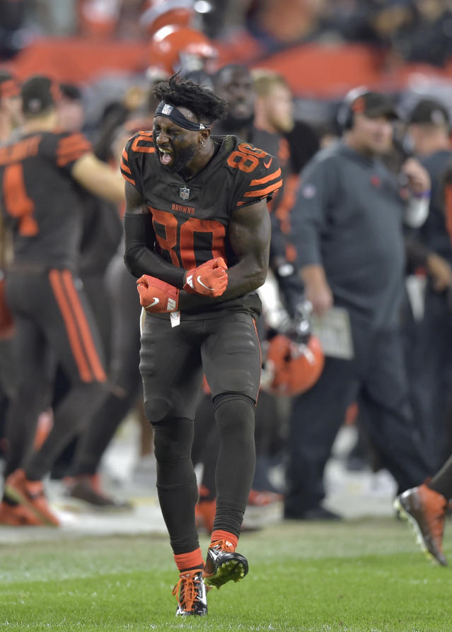 Cleveland Browns wide receiver Jarvis Landry celebrates after the Browns intercepted a New York Jets pass in the final minute of an NFL football game Thursday, Sept. 20, 2018, in Cleveland. The Browns won 21-17. (AP Photo/David Richard)