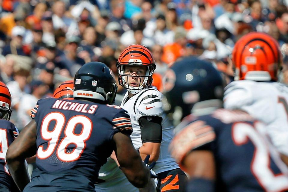 Cincinnati Bengals quarterback Joe Burrow (9) looks to pass the ball against the Chicago Bears during the first quarter at Soldier Field on Sept. 19.