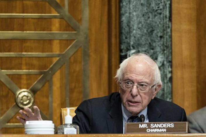 Chairman Bernie Sanders, I-Vt., speaks at a hearing to examine the nomination of Neera Tanden, President Joe Bidens nominee for Director of the Office of Management and Budget (OMB), before the Senate Committee on the Budget, Wednesday, Feb. 10, 2021 on Capitol Hill in Washington. (Anna Moneymaker/The New York Times via AP, Pool)