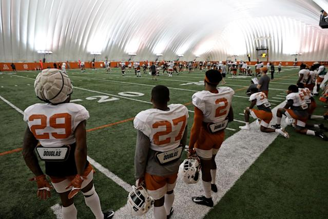 The Texas Longhorns football team practices Wednesday Sept. 4, 2019 in Austin, Tx. ( Photo by Edward A. Ornelas )