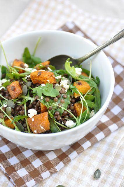 """<p>This earthy salad is fall in a bowl.</p><p>Get the recipe from <a href=""""http://www.anjasfood4thought.com/2012/11/lentil-pumpkin-salad-with-arugula-and.html"""" rel=""""nofollow noopener"""" target=""""_blank"""" data-ylk=""""slk:Anja's Food 4 Thought"""" class=""""link rapid-noclick-resp"""">Anja's Food 4 Thought</a>.</p>"""