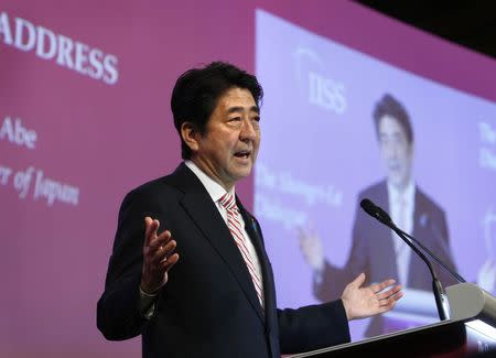 Japan's PM Abe delivers opening keynote address at 13th IISS Asia Security Summit: The Shangri-La Dialogue, in Singapore
