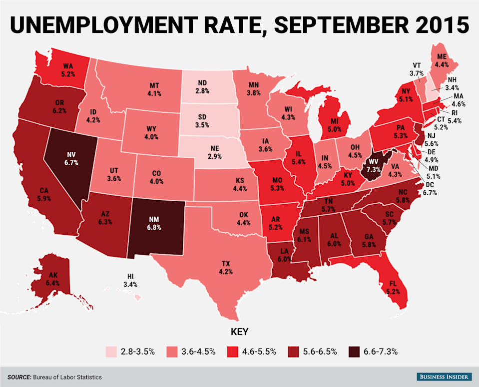 september 2015 state unemployment rate map