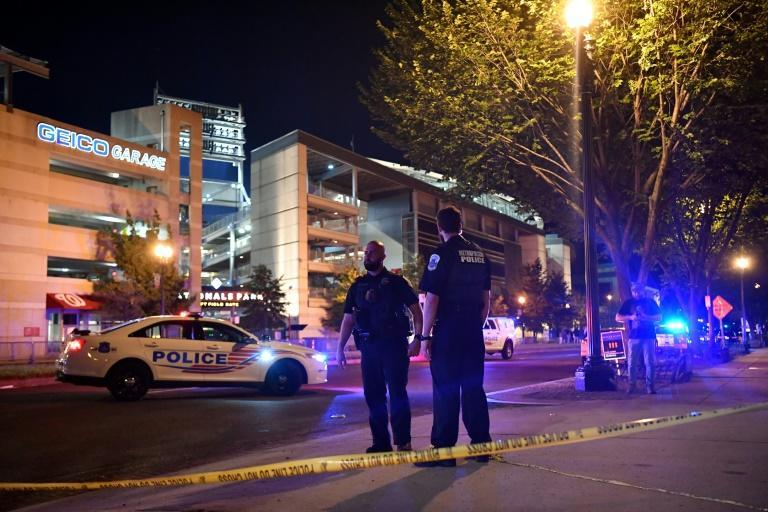 Police blocked off roads near the Nationals Park baseball stadium in southern Washington, DC after the shooting