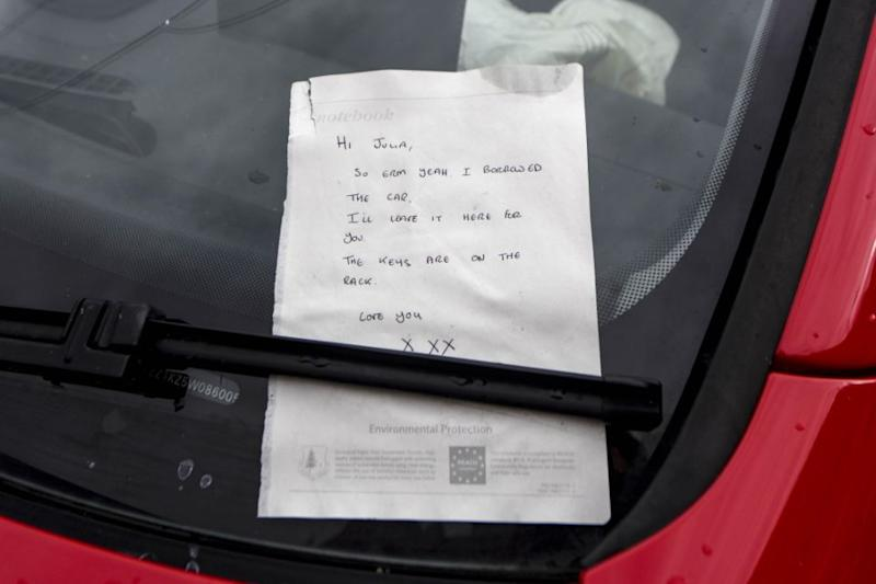 A driver allegedly 'borrowed' a pal's car and abandoned it after a crash – with just a token 'apology' note. Photo: Caters News
