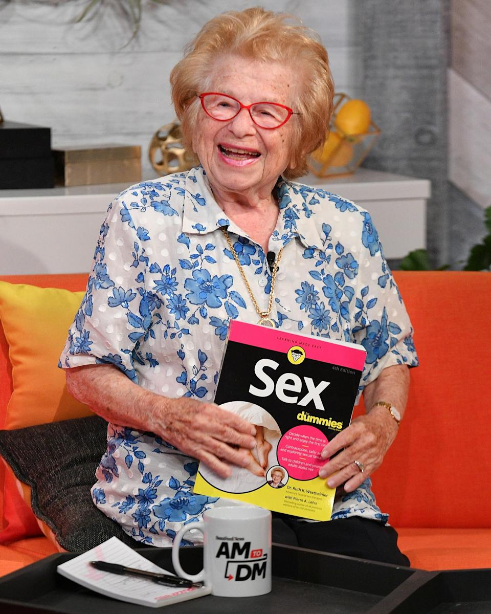 """<h1 class=""""title"""">August 20: Dr. Ruth</h1> <div class=""""caption""""> Dr. Ruth knows that the secret to a #BigFitoftheDay is a smile (and some great glasses). </div> <cite class=""""credit"""">Getty Images</cite>"""