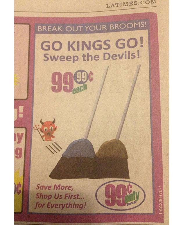 save off 68f7b d3752 The 99-cent broom: Perfect for that LA Kings' potential ...