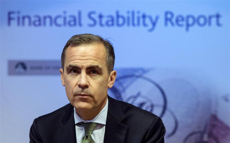 Bank of England Governor Carney delivers this year's half yearly Financial Stability Report to journalists at the Bank of England in London