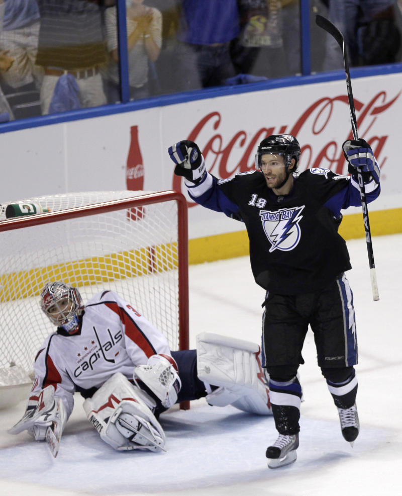 Tampa Bay Lightning's Dominic Moore celebrates a goal by teammate Sean Bergenheim in front of Washington Capitals goalie Michal Neuvirth, of the Czech Republic, during the second period in Game 4 of an NHL hockey Stanley Cup playoff Eastern Conference semifinal series in Tampa, Fla., Wednesday, May 4, 2011. (AP Photo/John Raoux)