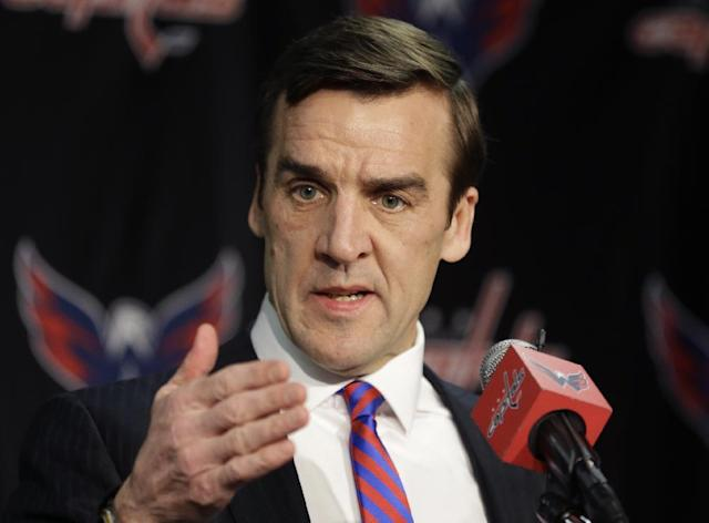 Washington Capitals vice president and general manager George McPhee speaks during a news conference before an NHL hockey game between the Capitals and the Phoenix Coyotes, Saturday, March 8, 2014, in Washington. (AP Photo/Carolyn Kaster)