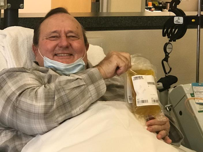 Dwight Everett, the first Ventura County resident to test positive for COVID-19, shows the plasma he donated in an effort to help critically ill patients.