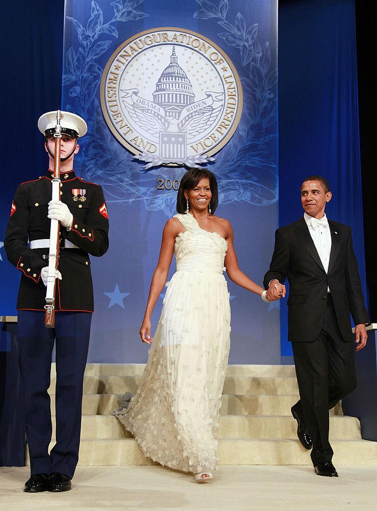 Michelle Obama at the first Inaugural Ball, where she wore her first Wu. (Photo: Getty)
