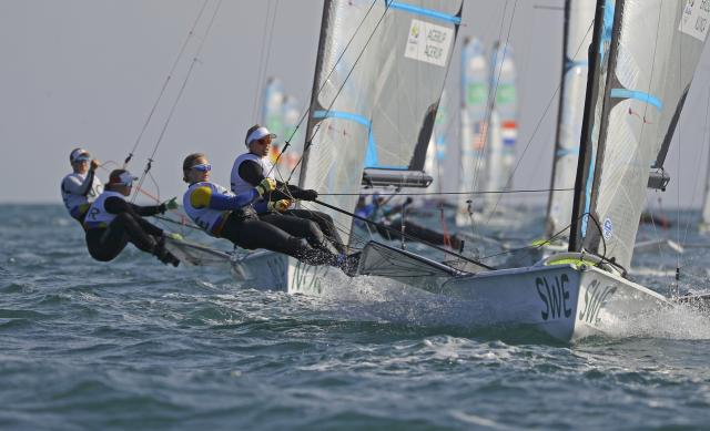 2016 Rio Olympics - Sailing - Preliminary - Women's Skiff - 49er FX - Race 7/8/9 - Marina de Gloria - Rio de Janeiro, Brazil - 15/08/2016. Lisa Ericson (SWE) of Sweden and Hanna Klinga (SWE) of Sweden compete. REUTERS/Brian Snyder FOR EDITORIAL USE ONLY. NOT FOR SALE FOR MARKETING OR ADVERTISING CAMPAIGNS.
