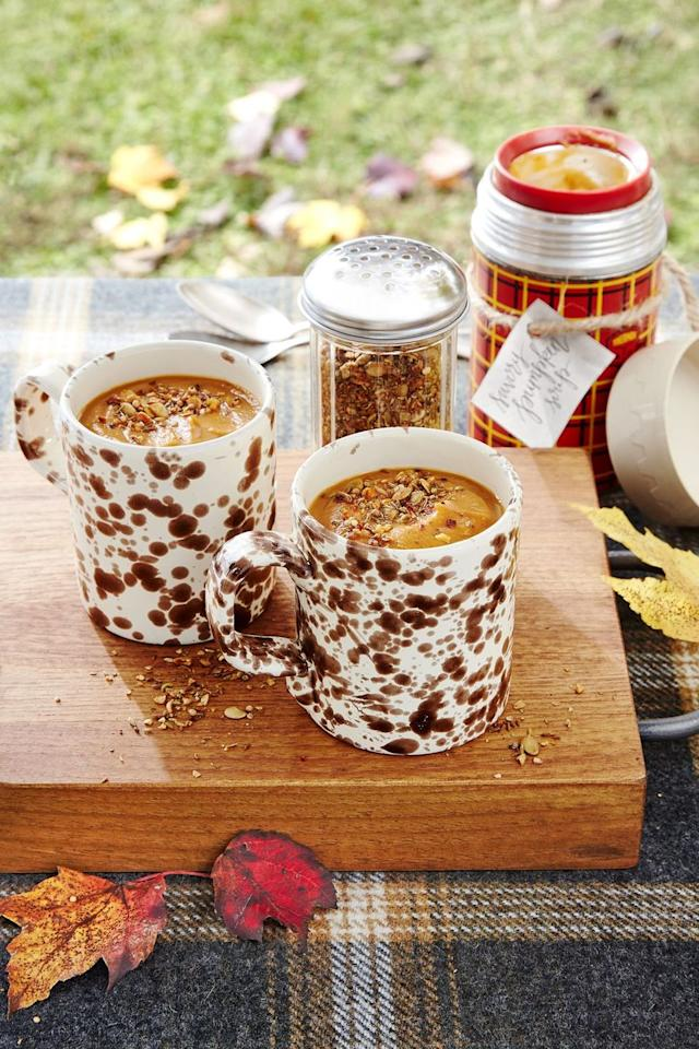 """<p>Upgrade your squash soup with this vegetarian recipe, topped with a homemade spice shake. </p><p><strong><a href=""""https://www.countryliving.com/food-drinks/a24234364/savory-pumpkin-soup-with-spice-shake-recipe/"""">Get the recipe</a>.</strong></p><p><a class=""""body-btn-link"""" href=""""https://www.amazon.com/Thermos-Stainless-Ounce-Folding-Spoon/dp/B01DZQT01U/?tag=syn-yahoo-20&ascsubtag=%5Bartid%7C10050.g.4695%5Bsrc%7Cyahoo-us"""" target=""""_blank"""">SHOP INSULATED FOOD JARS</a></p>"""