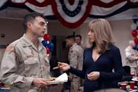 "<p>Putting her serious hat back on for this drama, Aniston plays the mother of a young soldier deployed to Iraq. It's unlike any other role she's done and Aniston's risk paid off.</p><p><a class=""link rapid-noclick-resp"" href=""https://www.amazon.com/Yellow-Birds-Tye-Sheridan/dp/B07DNLDMDJ/ref=sr_1_2?tag=syn-yahoo-20&ascsubtag=%5Bartid%7C10063.g.36311626%5Bsrc%7Cyahoo-us"" rel=""nofollow noopener"" target=""_blank"" data-ylk=""slk:WATCH NOW"">WATCH NOW</a></p>"