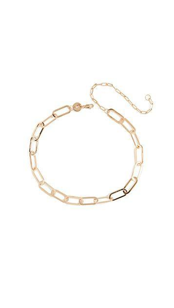 """<p><strong>Jennifer Zeuner Jewelry</strong></p><p>Shopbop.com</p><p><strong>$220.00</strong></p><p><a href=""""https://click.linksynergy.com/deeplink?id=6Km1lFswsiY&mid=42352&murl=https%3A%2F%2Fwww.shopbop.com%2Fmarta-necklace-jennifer-zeuner-jewelry%2Fvp%2Fv%3D1%2F1591675683.htm"""" rel=""""nofollow noopener"""" target=""""_blank"""" data-ylk=""""slk:Shop Now"""" class=""""link rapid-noclick-resp"""">Shop Now</a></p><p>A linked choker will make all the difference in your daily fits. This necklace is layer friendly, too, so add a friend or two to keep it company.</p>"""