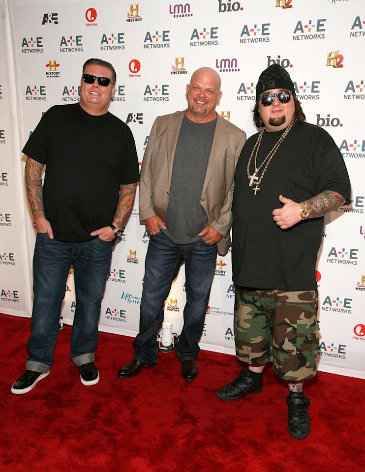 """Corey Harrison, Rick Harrison, and Austin """"Chumlee"""" Russell (History's """"Pawn Stars"""") attend the A&E Networks 2012 Upfront at Lincoln Center on May 9, 2012 in New York City."""