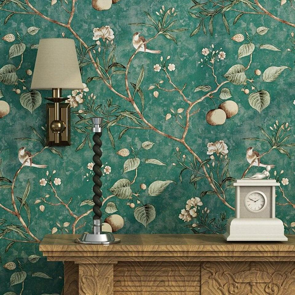 <p>This <span>Blooming Wall Vintage Flower Wallpaper</span> ($40) looks seriously luxurious, but is kind to your wallet.</p>