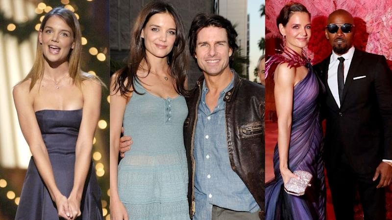 Left: Katie Holmes in 2002 with the most coveted hair colour. Middle: The Mrs. Cruise years. Right: A rare appearance with ex-boyfriend, Jamie Foxx. (Images via Getty Images)