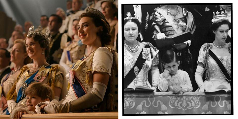 <p>Queen Elizabeth II was coronated at Westminster Abbey on June 2, 1952. Her eldest son, Prince Charles was sat on the balcony in between the Queen Mother and his aunt, Princess Margaret and IRL looked a tad more bored than the drama depicted.</p>