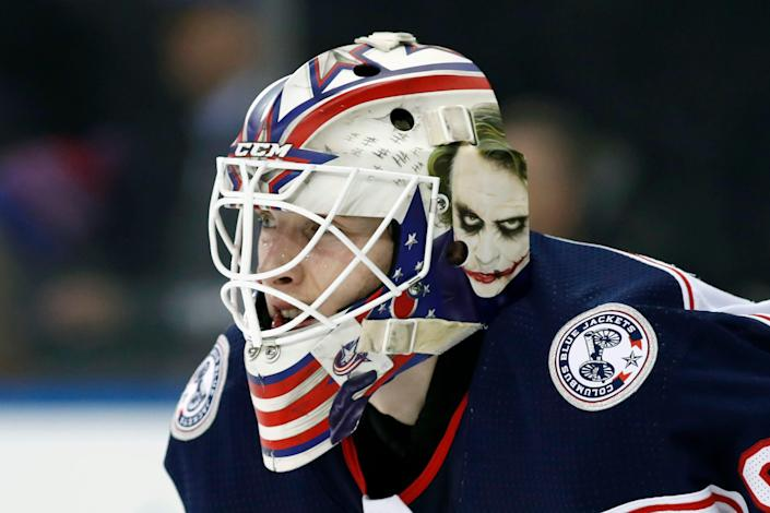 Columbus Blue Jackets goaltender Matiss Kivlenieks (80) is shown during the second period of an NHL hockey game in New York, in this Sunday, Jan. 19, 2020.