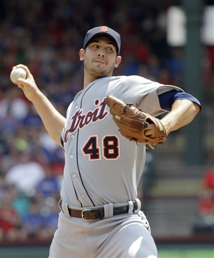 Detroit Tigers starting pitcher Rick Porcello throws during the first inning of a baseball game against the Texas Rangers, Sunday, Aug. 12, 2012, in Arlington, Texas. (AP Photo/LM Otero)