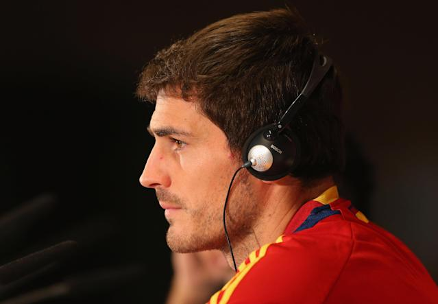 KIEV, UKRAINE - JUNE 30: In this handout image provided by UEFA, Iker Casillas of Spain talks to the media during a UEFA EURO 2012 press conference at the Olympic Stadium on June 30, 2012 in Kiev, Ukraine. (Photo by Handout/UEFA via Getty Images)