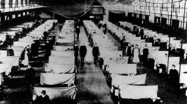 PHOTO: Image shows warehouses that were converted to keep the infected people quarantined. The patients are suffering from the 1918 Influenza pandemic. (Universal History Archive/Universal Images Group via Getty Images)