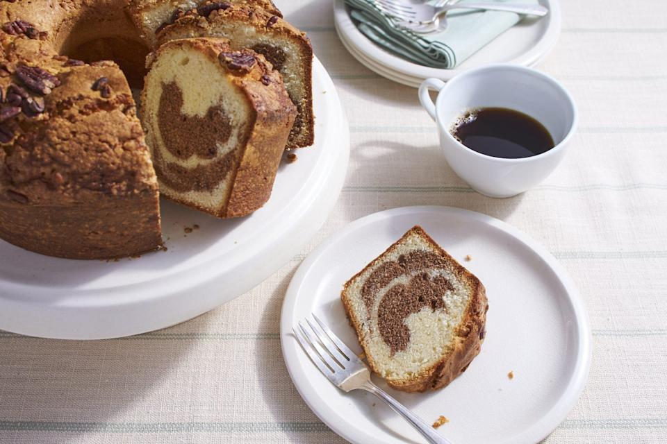 """<p><strong>Recipe: <a href=""""https://www.southernliving.com/recipes/marbled-pecan-pound-cake-recipe"""" rel=""""nofollow noopener"""" target=""""_blank"""" data-ylk=""""slk:Marbled Pecan Pound Cake"""" class=""""link rapid-noclick-resp"""">Marbled Pecan Pound Cake</a></strong></p> <p>This recipe from a 1993 issue of <em>Southern Living</em> is a holiday classic because it can so easily be made in advance when you're busy.</p>"""