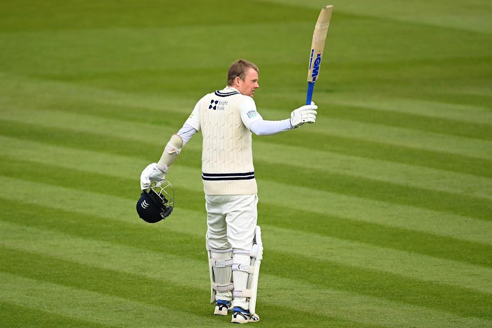Sam Robson celebrates his century (Getty Images)