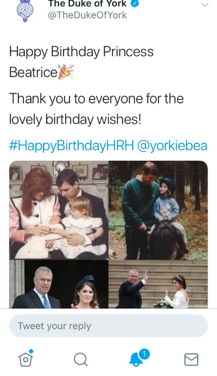 Prince Andrew Twitter message to Princess Beatrice