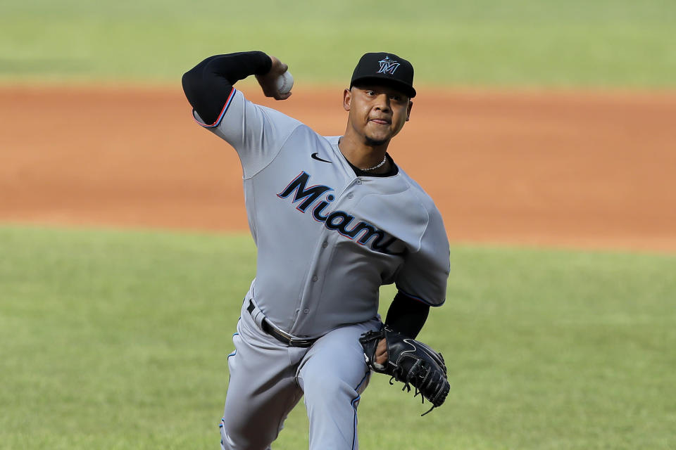 Miami Marlins starting pitcher Elieser Hernandez throws a pitch to the Baltimore Orioles during the first inning in game one of a baseball double-header, Wednesday, Aug. 5, 2020, in Baltimore. (AP Photo/Julio Cortez)