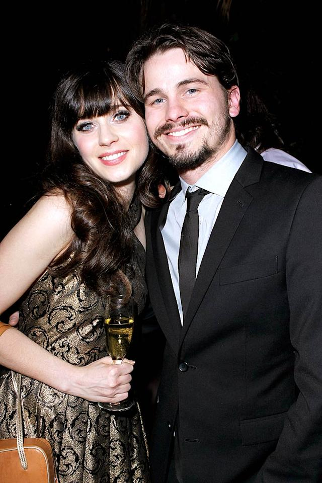 "Recently separated Zooey Deschanel grabbed a drink -- champagne -- and a guy -- ""Parenthood"" cutie Jason Ritter. (11/17/2011)"