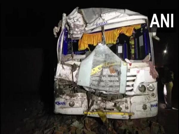 The bus, which collided with a truck in Moradabad. Photo/ANI